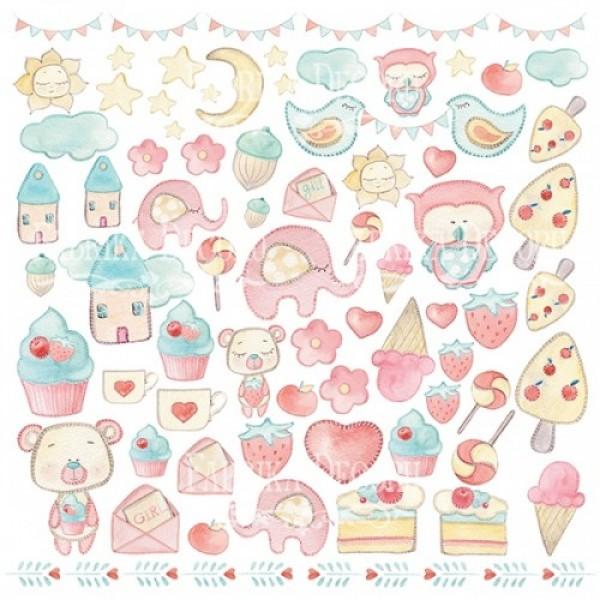 "Лист с высечками, коллекция ""Sweet baby boy"", 30,5Х30,5СМ, арт. FD-List-01027"