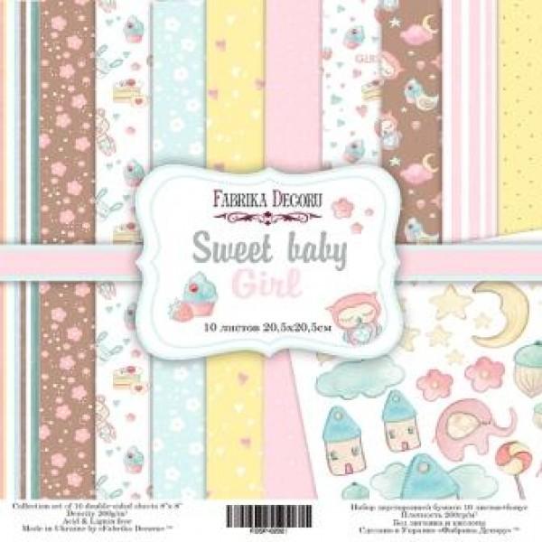 """Набор скрапбумаги """"Sweet baby girl"""", 20 х 20см  10 листов, 200 гр . арт. FDSP-02027"""
