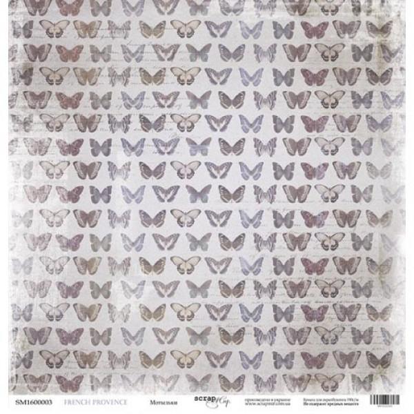 Лист односторонней бумаги 30x30 от Scrapmir  Мотыльки из коллекции French Provence, арт.SM1600003