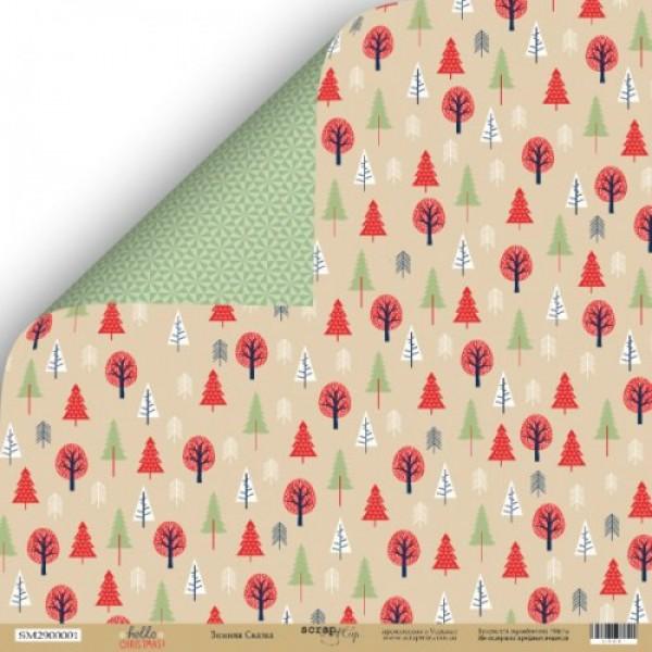 Лист двусторонней бумаги 30x30 от Scrapmir Зимняя сказка из коллекции Hello Christmas