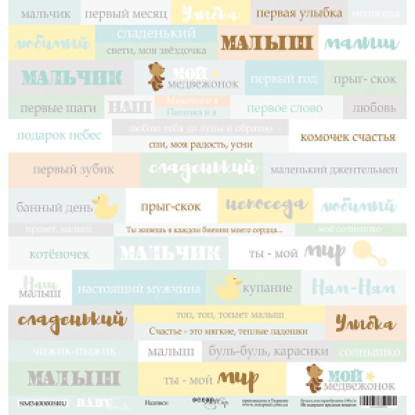 Лист односторонней бумаги 30x30 от Scrapmir Надписи (RU) из коллекции Smile Baby, SM3400005