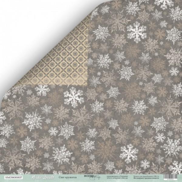 Лист двусторонней бумаги 30x30 от Scrapmir Снег кружится из коллекции Nordic Spirits