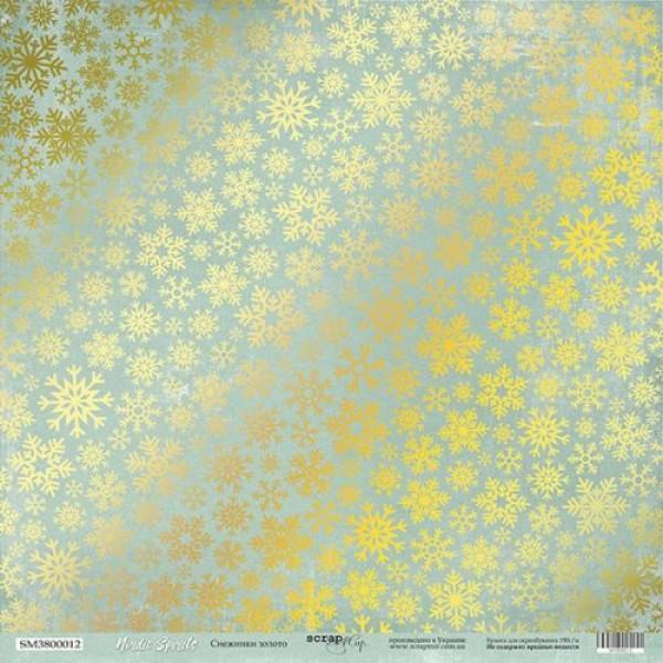 Лист односторонней бумаги с золотым тиснением 30x30 Снежинки Золото от Scrapmir Nordic Spirits