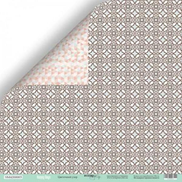 Лист двусторонней бумаги 30x30 от Scrapmir Цветочный узор из коллекции Happy Days, SM4200003