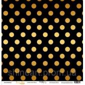 Лист односторонней бумаги 30x30 от Scrapmir Golden Dots Black из коллекции Every Day, арт.SM4500005