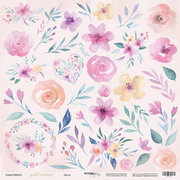 Лист односторонней бумаги для вырезания 30x30 от Scrapmir Цветы из коллекции Gentle Morning
