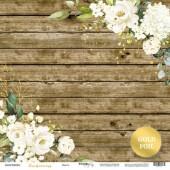 Лист односторонней бумаги с золотым тиснением 30x30 от Scrapmir Цветы из коллекции Tenderness