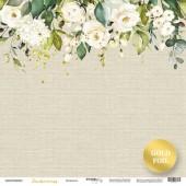 Лист односторонней бумаги с золотым тиснением 30x30 от Scrapmir Нежность из коллекции Tenderness
