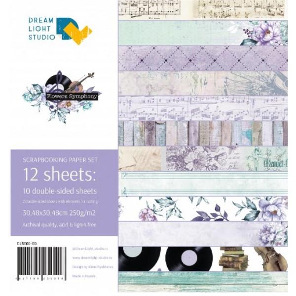 """Набор бумаги """"Flowers Symphony"""", 30,5х30,5 см, 12 двусторонних листов, пл. 250 гр"""