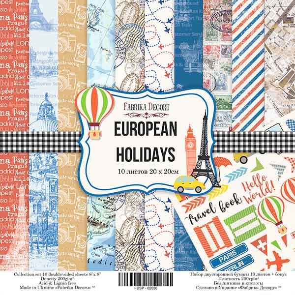 """Набор скрапбумаги """"EUROPEAN HOLIDAYS"""", 30 Х 30 см, art. FDSP-01036"""