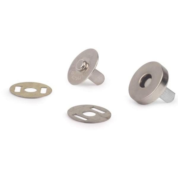 Кнопка магнитная на усиках, цвет белый никель, диаметр 18 мм