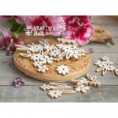 Чипборд набор цветочков с листиками (20 шт), 25 x 25 мм