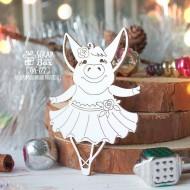 Чипборд свинка балерина с разведенными руками, 48 x 71 мм