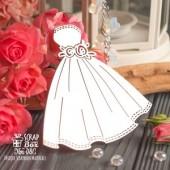 Чипборд свадебное платье с розами, 81 x 81 мм, Hm-081