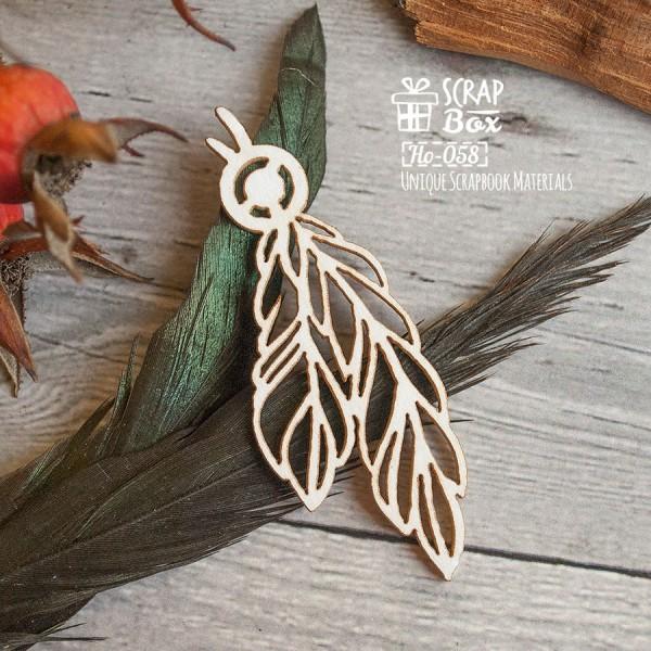 Чипборд перья с бусинкой, размеры: 60 x 22 мм, арт. Ho-058