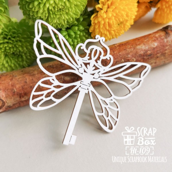 Чипборд ключ с крылышками бабочки, размеры: 80 x 69 мм, арт. Ht-109