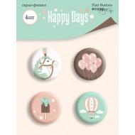 Набор скрап-фишек для скрапбукинга 4шт от Scrapmir Happy Days, SM4200017
