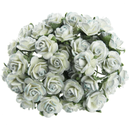 Цветы бумажные, размер 1,5 см, цвет 2-TONE-ANTIQUE-BLUE