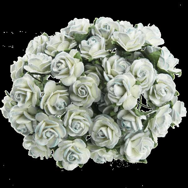 Цветы бумажные, размер 2 см, цвет 2-TONE-ANTIQUE-BLUE