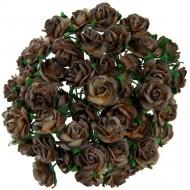 Цветы бумажные, размер 2 см, цвет 2-TONE-CHOCOLATE-BROWN