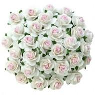 Цветы бумажные, размер 2 см, цвет 2-TONE-WHITE-PINK-CENTRE