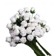 Цветы бумажные- бутон белых роз -10 шт