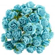 Цветы бумажные, размер 2 см, цвет LIGHT-TURQUOISE