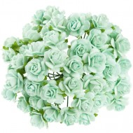 Цветы бумажные, размер 2 см, цвет AQUA
