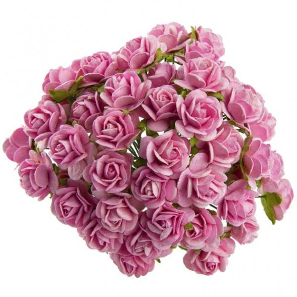 Цветы бумажные, размер 2 см, цвет PINK