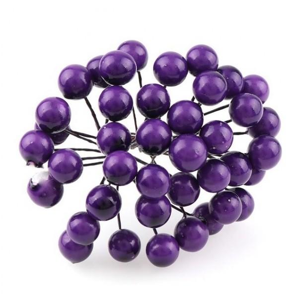 Декоративные ягодки глянцевые, пучок 17-18 шт, цвет фиолетовый, арт. yagodki_12