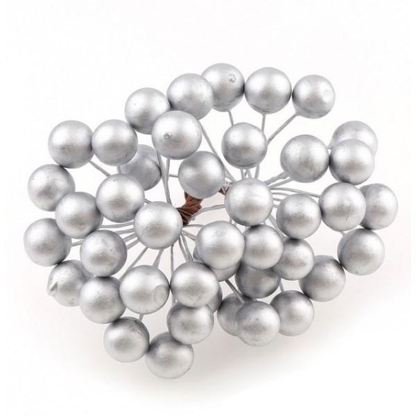 Декоративные ягодки глянцевые, пучок 17-18 шт, цвет серебро, арт. yagodki_10