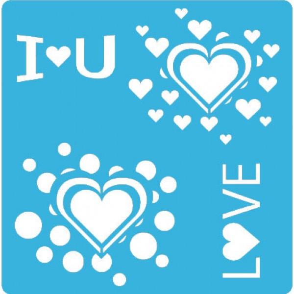Трафарет - 111. «Любовь» 15см х 15см, Толщиной 190мкм