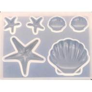 "Набор форм для заливки смолой ""Морская"", размер 8х6х0,8 см арт. mold5n"