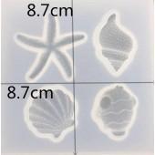 "Набор форм для заливки смолой ""Морская"", размер 8,7х8,7х1,3 см арт. mold6n"