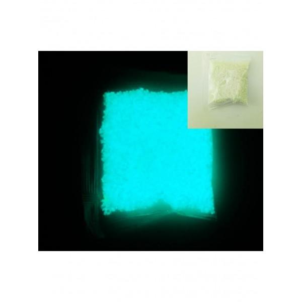 Люминофорная (светящаяся) крошка 10 гр, цвет: бирюзовый, размер 3 - 5 мм