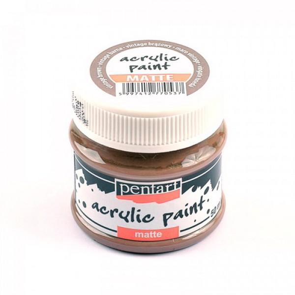 Краска Pentart матовая винтаж коричневый, 50мл арт. 20985