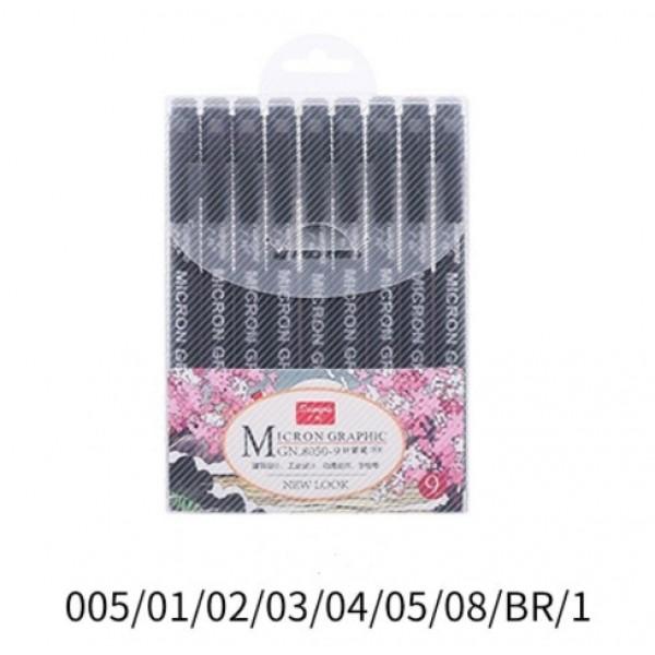 Набор капиллярных ручек Pigment liner, MICRON CRAPHIC, 9 шт
