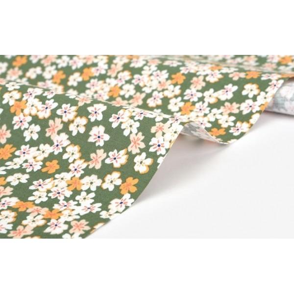"""Ткань хлопок DailyLike """"Полевой цветок на зеленом"""",  ширина 110 см, плотность 165 г.м арт. 524"""