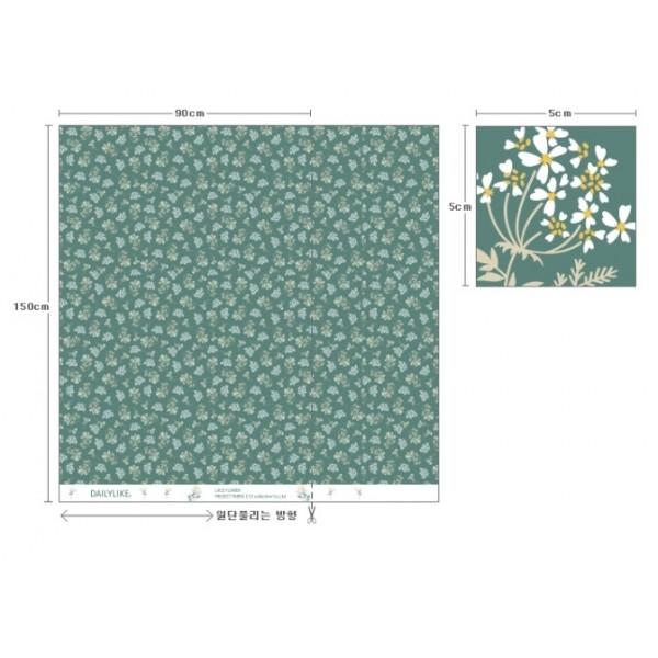 "Ткань хлопок DailyLike ""Цветы на зеленом"", ширина 110 см, плотность 165 г.м арт. 573"