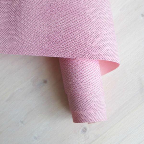 """Переплетный кожзам, тиснение """"Питон"""", цвет: розовый"""