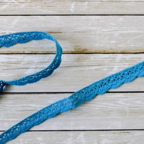 Кружевная лента 1002-5 шир.10 мм, дл. 0,5 м, темно-голубой