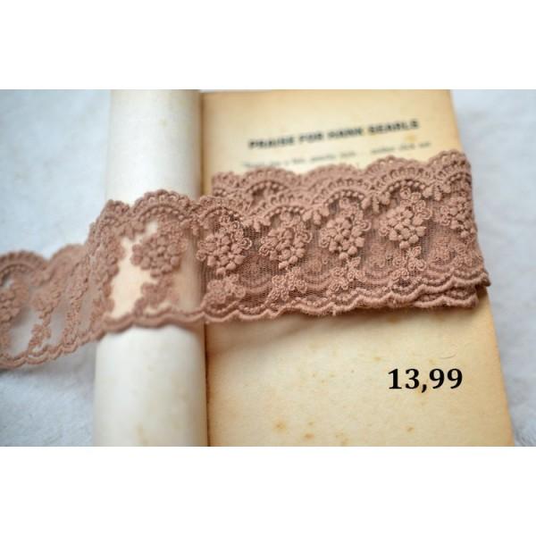 Кружево. Вышивка по сетке, состав: вышивка - хлопок, сетка - нейлон. Цвет: светло-коричневый, ширина: 47 мм, дл.0,5м арт. 13.99