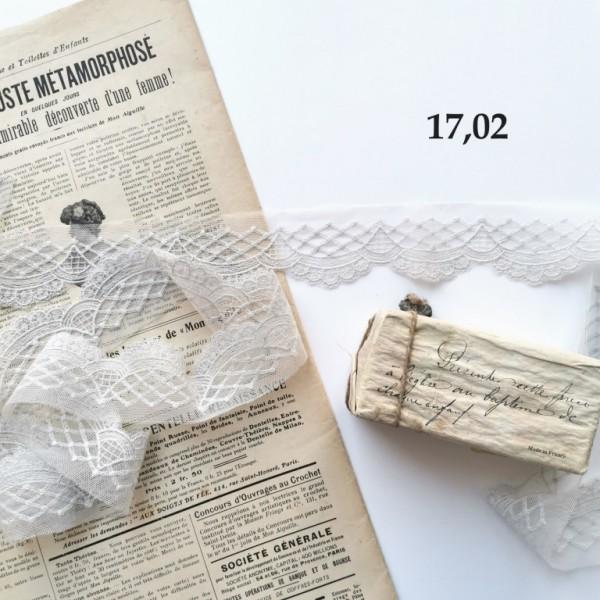 Кружево. Вышивка на сетке, ширина: 4 см, цвет: светло - серый, длина 50 см, арт. 17.02
