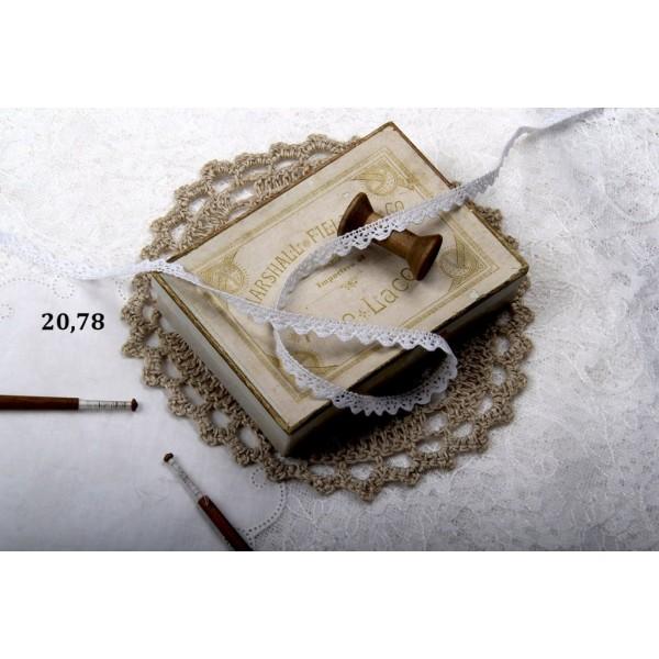 Кружево, хлопок, ширина: 09 мм, 0.5 м., цвет: белый, арт. 20.78