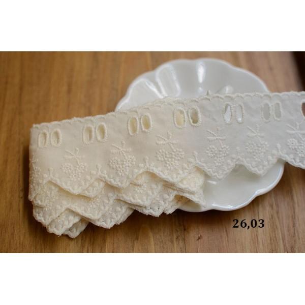 Кружево. Шитье по ткани, состав: хлопок. Цвет: сливочный, ширина: 48 мм, дл.0,5м арт. 26.03