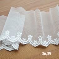 Кружево на сетке, ширина 8.5 см, цвет: молочный, длина 50 см, арт.36.35