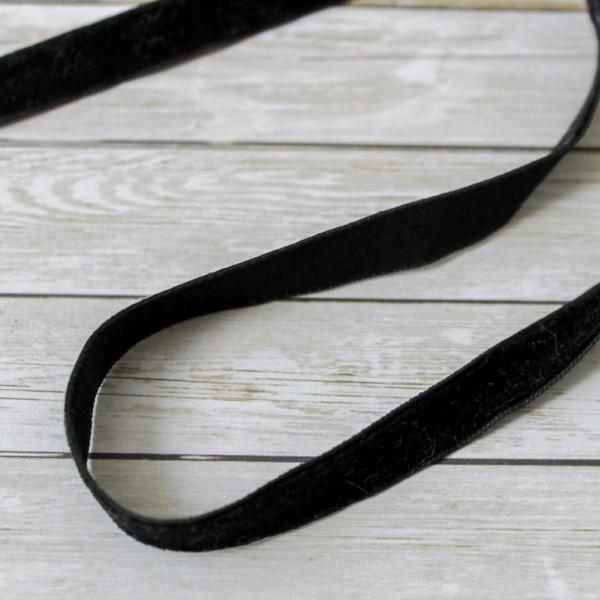 Лента бархатная, ширина: 1 см, длина 50 см, цвет: черный
