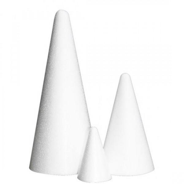 Заготовка из пенопласта -Конус,  высота 20 см, диаметр основания 8 см