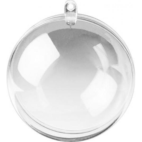 Шар прозрачный пластиковый- заготовка для новогоднего шара, D -7 см