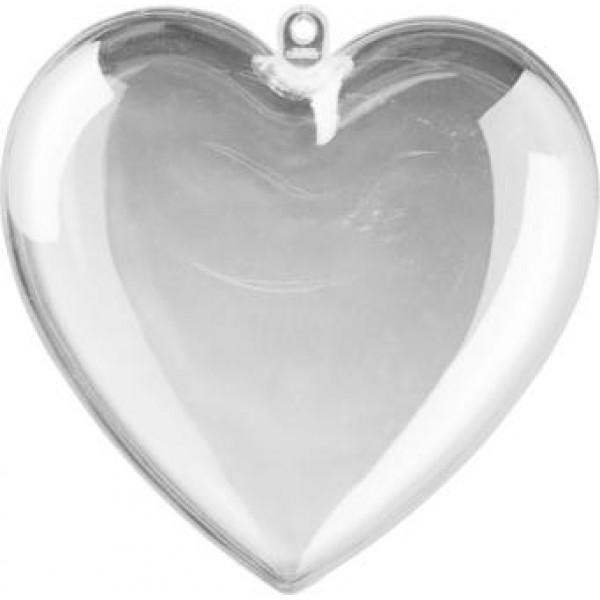 Сердце прозрачное акриловое - заготовка для творчества, размер 65 * 63 * 37 мм